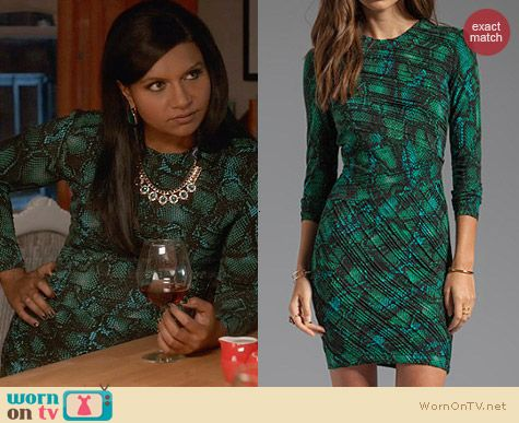 Torn by Ronny Kobo Tara Pleated Tonal Snake Dress worn by Mindy Kaling on The Mindy Project