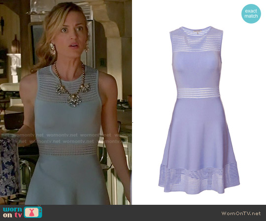 Torn by Ronny Kobo Sleeveless Open Stitch Flare Dress worn by Brooke D'Orsay on Royal Pains