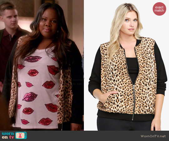 Torrid Animal Print Bomber Jacket worn by Amber Riley on Glee