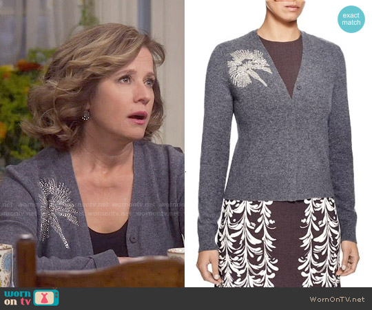Tory Burch Beaded Merino Wool Cardigan worn by Nancy Travis on Last Man Standing