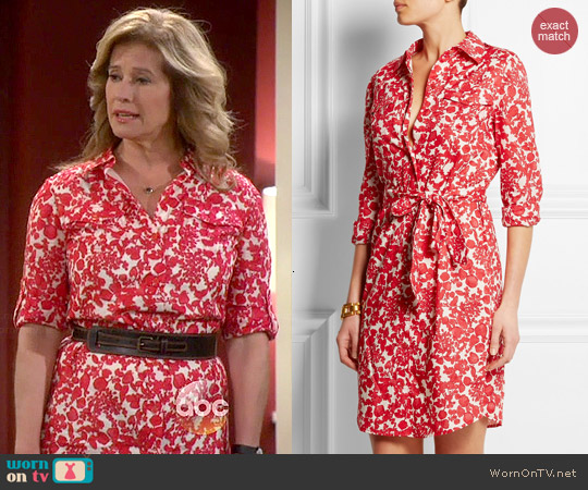 Tory Burch Brigitte Printed Cotton Shirt Dress worn by Nancy Travis on Last Man Standing