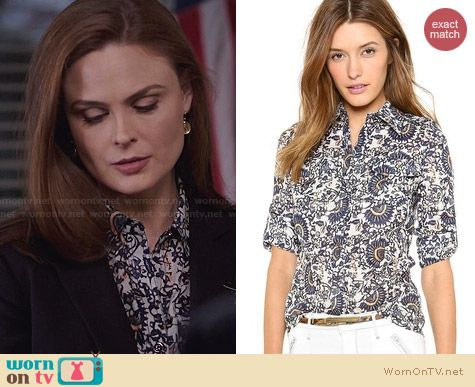 Tory Burch Brigitte Blouse in Madura Ocean Mist worn by Emily Deschanel on Bones