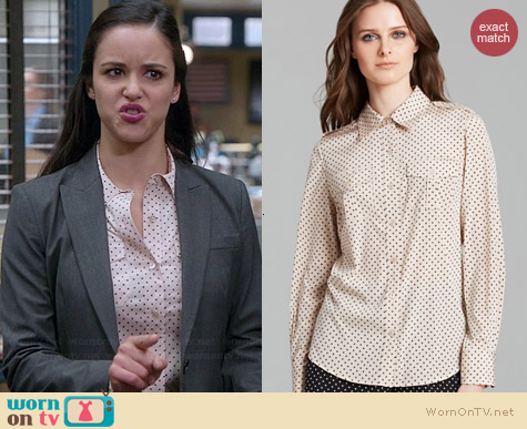 Tory Burch Brigitte Polka Dot Shirt worn by Melissa Fumero on Brooklyn 99