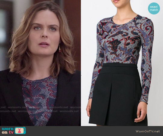 Tory Burch Brocade Print T-shirt worn by Emily Deschanel on Bones