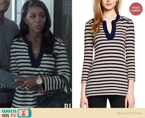 Tory Burch Lizzy Cashmere Stripe Tunic worn by Aja Naomi King on HTGAWM