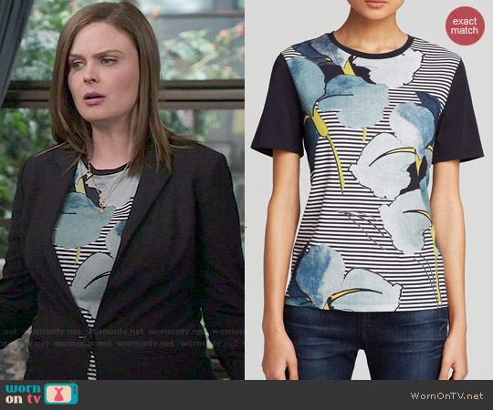 Tory Burch Cathy Floral Stripe Tee worn by Emily Deschanel on Bones