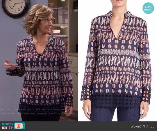 Tory Burch Crochet Trim Print Cotton Tunic worn by Nancy Travis on Last Man Standing
