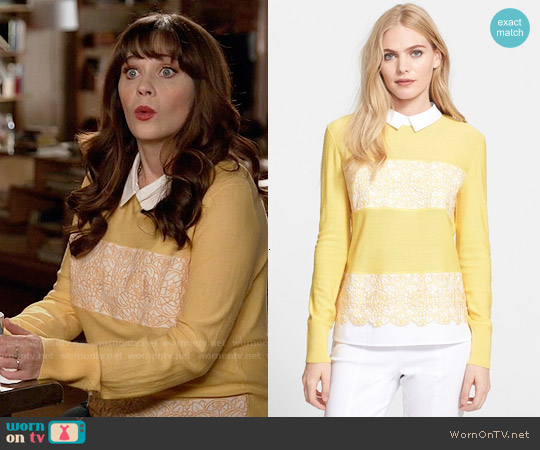 Tory Burch Edwina Sweater worn by Zooey Deschanel on New Girl