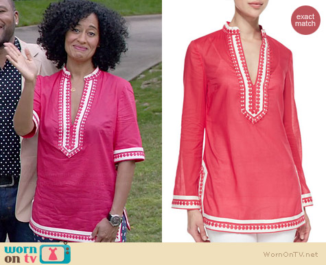 Tory Burch Embroidered Split Neck Turnic worn by Tracee Ellis Ross on Black-ish