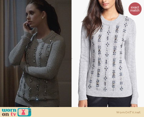 Tory Burch Etta Embellished Sweater worn by Merrit Patterson on Ravenswood