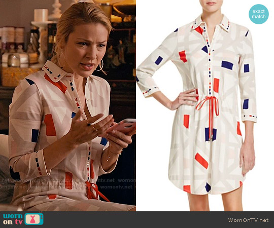 Tory Burch  Geo Print Drawstring Shirt Dress worn by Tabrett Bethell on Mistresses
