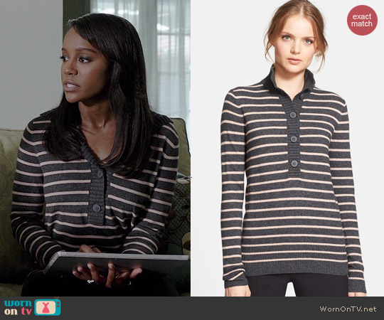 Tory Burch Giselle Sweater in Charcoal Stripe worn by Aja Naomi King on HTGAWM