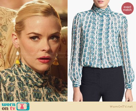 Tory Burch Jasmine Blouse in Scarab Print worn by Jaime King on Hart of Dixie