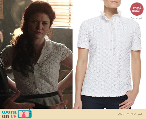 Tory Burch Lidia Lace Polo Shirt worn by Emilie de Ravin on OUAT