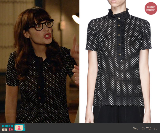 Tory Burch Lidia Top worn by Zooey Deschanel on New Girl