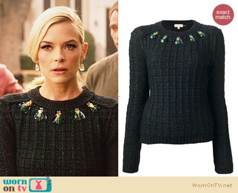 Tory Burch Lucy Bug Embellished Sweater worn by Jaime King on Hart of Dixie