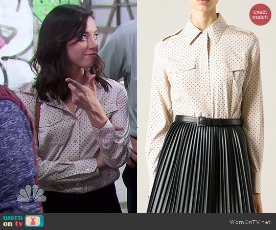 Tory Burch Military Shirt worn by Aubrey Plaza on Parks & Rec