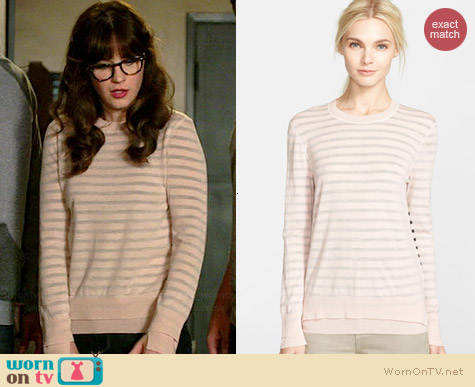 Tory Burch Naia Sweater worn by Zooey Deschanel on New Girl