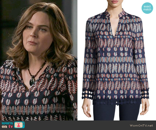 Tory Burch Long-Sleeve Printed Tunic in Tory Navy worn by Emily Deschanel on Bones