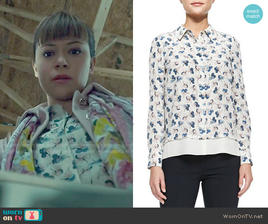 Tory Burch Pamela Shirt in Birch Permula worn by Tatiana Maslany on Orphan Black