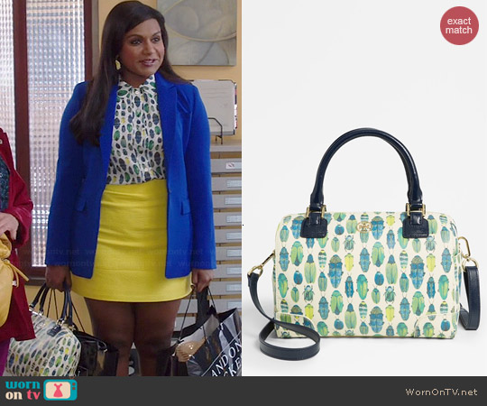 Tory Burch Robinson Middy Satchel in Beetle worn by Mindy Kaling on The Mindy Project