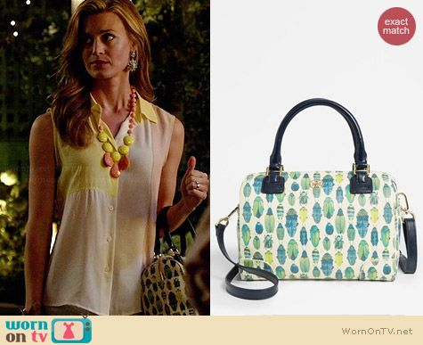 Tory Burch Robinson Middy Satchel in Beetle worn by Brooke D'Orsay on Royal Pains