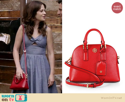 Tory Burch Robinson Mini Dome Bag worn by Zooey Deschanel on New Girl