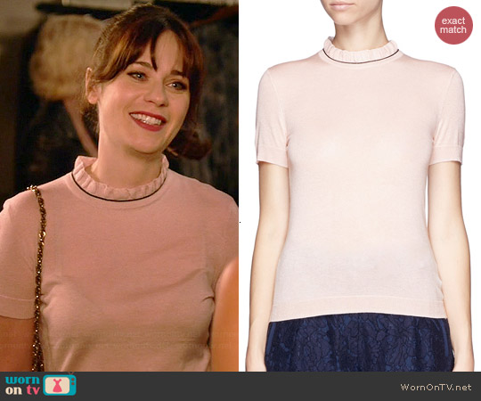 Tory Burch Rolanda Sweater in Lichee worn by Zooey Deschanel on New Girl