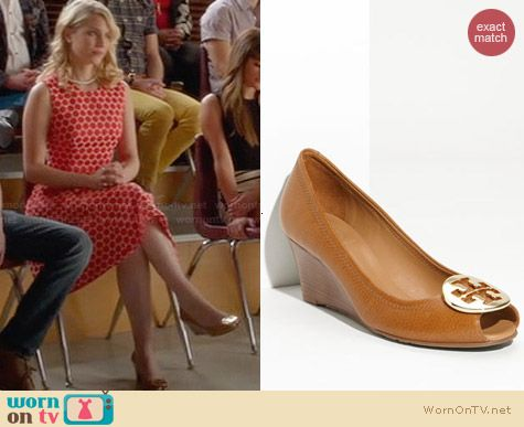 Tory Burch Sally 2 Peep Toe Wedges worn by Dianna Agron on Glee