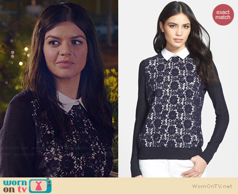 Tory Burch Sandy Sweater worn by Casey Wilson on Marry Me