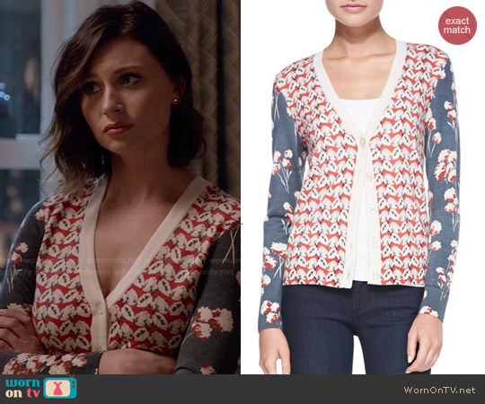 Tory Burch 'Shia' Mixed Print Wool Cardigan worn by Aly Michalka on iZombie