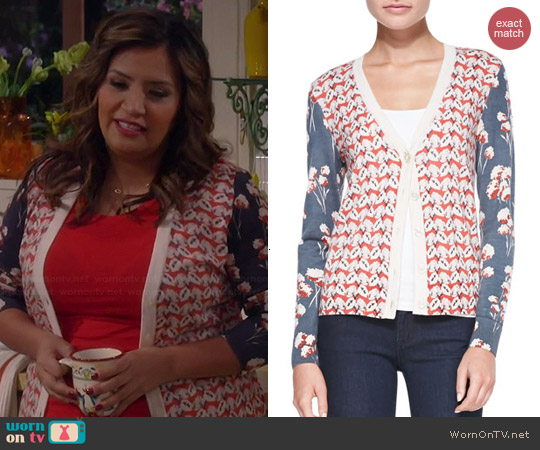 Tory Burch Shia Mixed Print Cardigan worn by Cristela Alonzo on Cristela