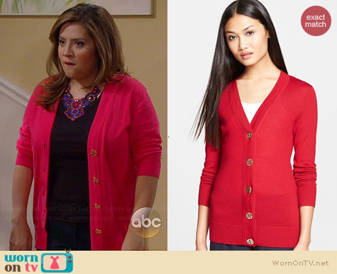 Tory Burch Simone Cardigan in Ruby Red worn by Cristela Alonzo on Cristela