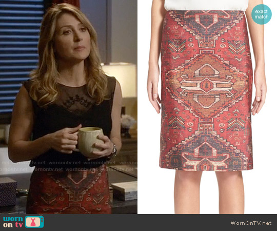 Tory Burch Tapestry Print Pencil Skirt worn by Sasha Alexander on Rizzoli & Isles