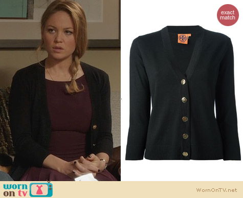 Tory Burch V-Neck Cardigan worn by Erika Christensen on Parenthood