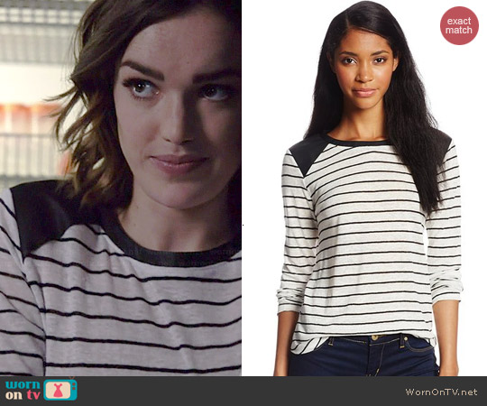 Townsen Striped Faux Leather Shoulder Top worn by Elizabeth Henstridege on Agents Of SHIELD