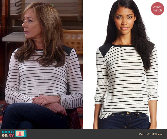 Townsen Striped Faux Leather Shoulder Top worn by Allison Janney on Mom