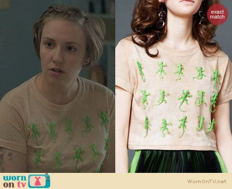 Toy Syndrome Green Lizard Crop Tee worn by Lena Dunham