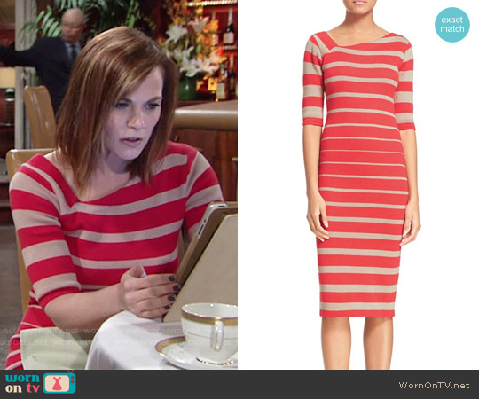 Tracy Reese Stripe Asymmetrical Neckline Sheath Dress worn by Gina Tognoni on The Young & the Restless