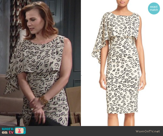 Tracy Reese Asymmetrical Print Stretch Silk Dress worn by Gina Tognoni on The Young & the Restless
