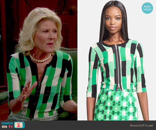 Tracy Reese Brick Print Crop Cardigan worn by Alley Mills on The Bold & the Beautiful