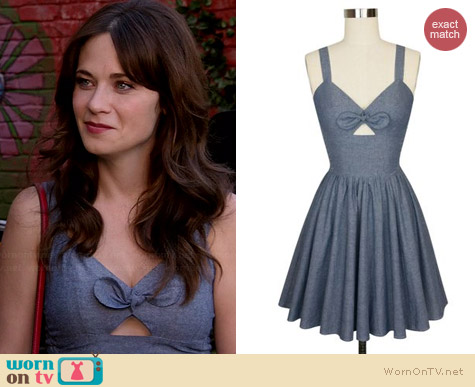Trashy Diva Chambray Hottie Dress worn by Zooey Deschanel on New Girl