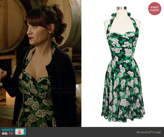 Trashy Diva Trixie Crepe Myrtle Dress worn by Zooey Deschanel on New Girl