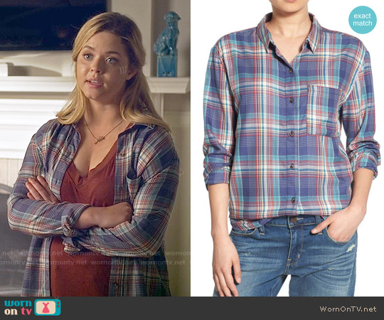 Treasure & Bond Drapey Plaid Boyfriend Shirt worn by Sasha Pieterse on PLL
