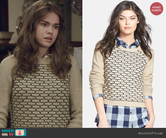Treasure & Bond Box Stitch Sweater worn by Maia Mitchell on The Fosters