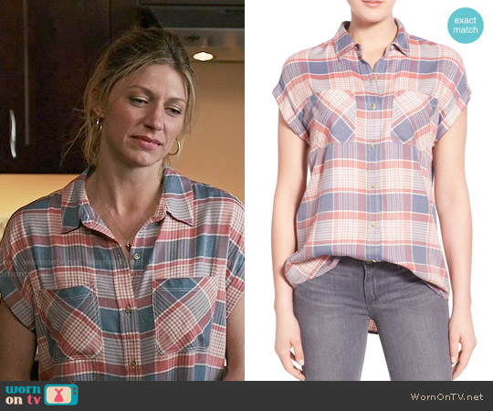 Treasure & Bond Blue Cobalt Checker Drapey Plaid Shirt worn by Jes Macallan on Mistresses