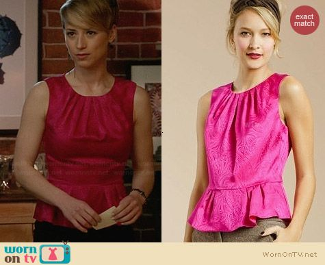 Trina Turk Actress Pink Paisley Peplum Top worn by Karine Vanasse on Revenge