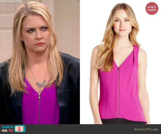 Trina Turk Banning Top in Orchid worn by Melissa Joan Hart on Melissa & Joey