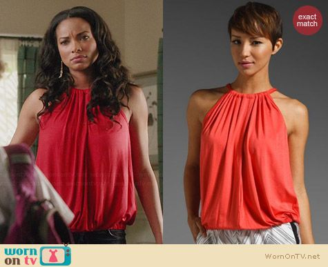 Trina Turk Imma Top in Red worn by Rochelle Aytes on Mistresses