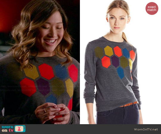 Trina Turk Landon Sweater in Charcoal worn by Jenna Ushkowitz on Glee